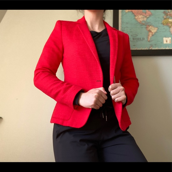 Zara Jackets & Blazers - Zara bright red woven blazer